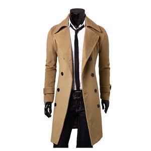 Image 4 - 新しいトレンチコートの男性 2020 ジャケットメンズ外套カジュアルスリムフィット防風ソリッドロングコート男性ファッション冬コートオムプラスサイズ