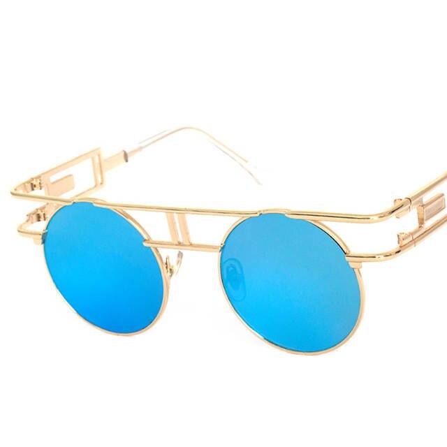 US $8.92 9% OFF Gothic Steampunk männer Vintage Sonnenbrille Frauen Beschichtung Reflektierende Sonnenbrille Runde Kreis sonnenbrille Retro Gafas