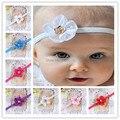 10Pcs.Satin ribbon Baby girls Hair flowers Rose Flower with Rose gold-plated metal newborn elastic headbands bebe hair accessory