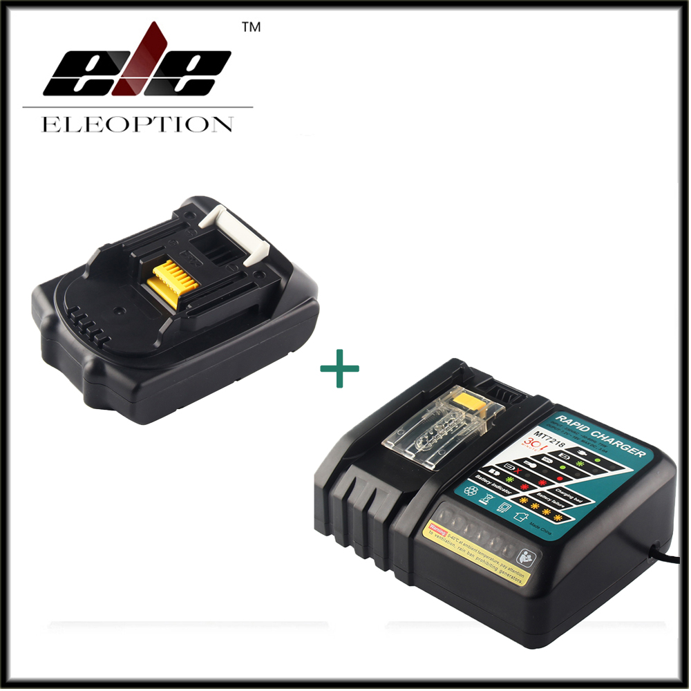 цена на Eleoption 18V 2000mAh Li-ion Replacement Power Tool Battery For MAKITA 194205-3 194309-1 BL1815 + 7.2V-18V Charger