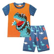 BINIDUCKLING Summer Fashion Toddler Baby Boys Kids Clothes Set Dinosaur Cartoon T-shirt+Shorts Infant Kid Clothing 2 To 7 Years(China)