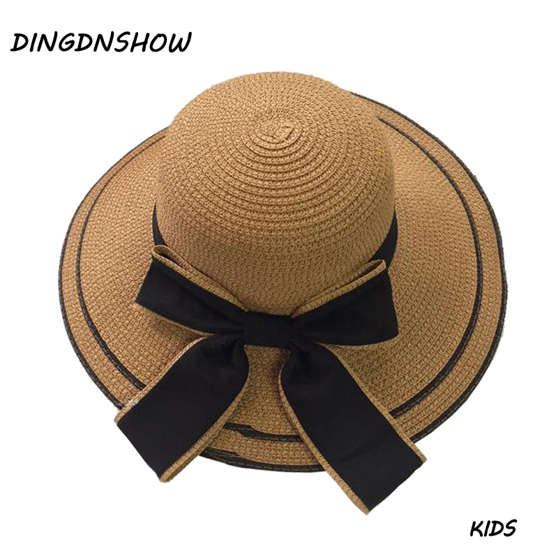 DINGDNSHOW 2019 Brand Sun Hat Kids Summer Cap for Boys Bowknot Beach Cap Wide Brim Hat Girl Straw Hat in Hats Caps from Mother Kids