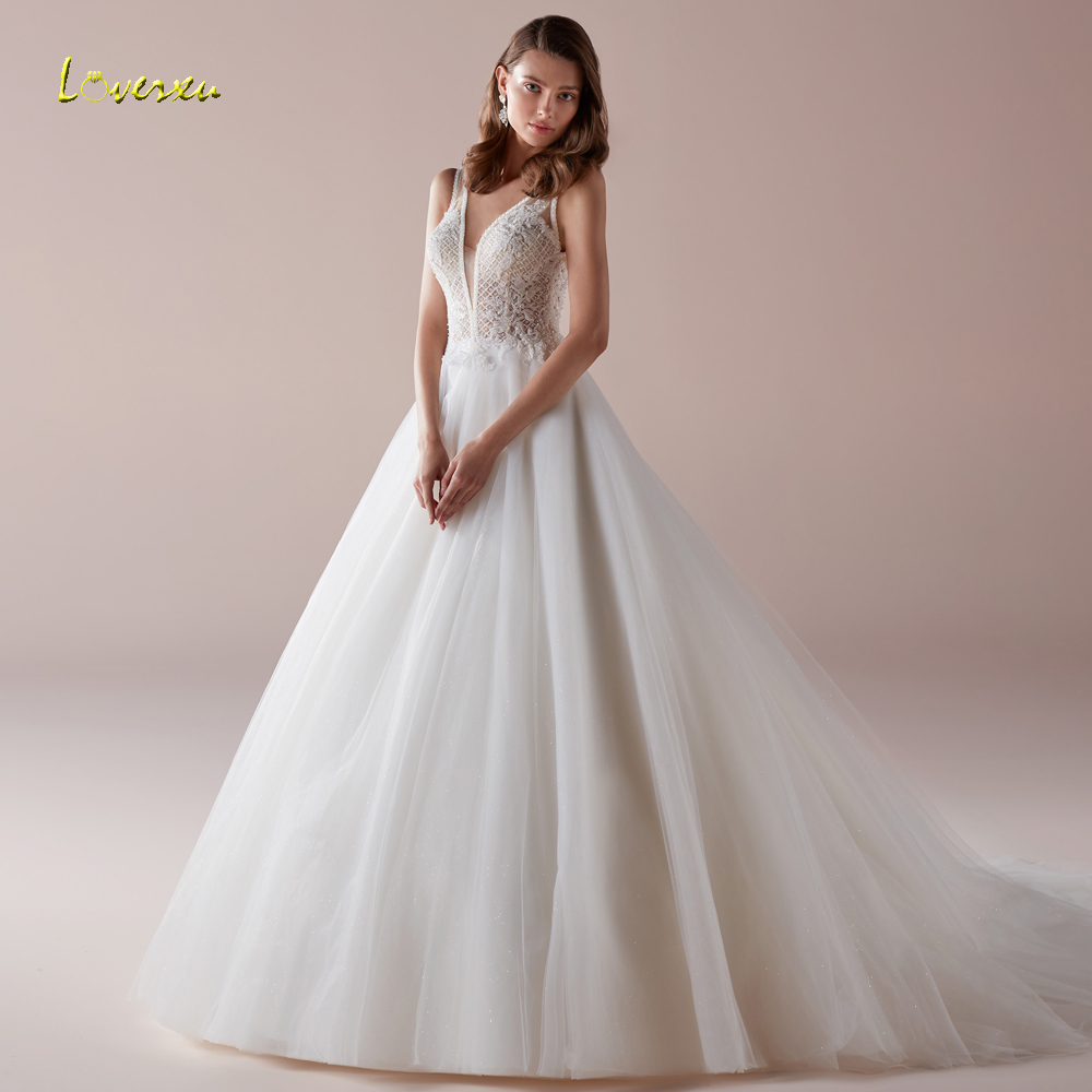 250844b5908d5 Loverxu Sexy Backless V Neck Pearls Vintage Wedding Dresses 2019 Elegant  Appliques Beaded Court Train A Line Bridal Gowns ~ Premium Deal July 2019