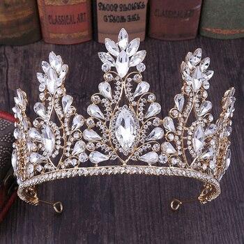 FORSEVEN lujo princesa reina mujeres chica novia boda joyería del pelo Lágrima de cristal oro rojo blanco verde corona Tiara
