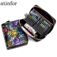 6c730d038 RFID Blocking Genuine Leather Women Wallet With Zipper Coin Pocket  Butterfly Dragonfly Flower Embossed Purse For