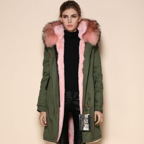 2017 Haute Qualité Manteau Plus Doublé Style 100 Body Taille La Vestes D'hiver Coton Parka Long Fausse En Fourrure Rose Femmes Coréenne De 68afqZw8