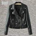Черный PU кожаные куртки и пальто женщин мотоцикла весте ан cuir роковой cazadora cuero mujer бесплатная доставка LT085