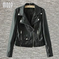 Black PU leather jackets and coats women motorcycle jacket veste en cuir femme cazadora cuero mujer Free shipping LT085
