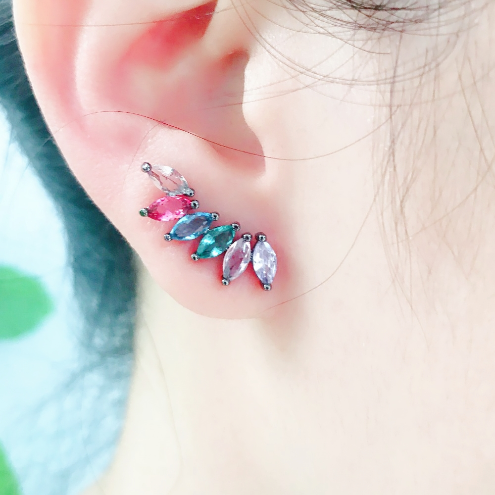 MW Crystal flower Shape Multi Color Stud Earrings Colorful Party Brincos Earrings for Women Fashion Jewelry EFX001282