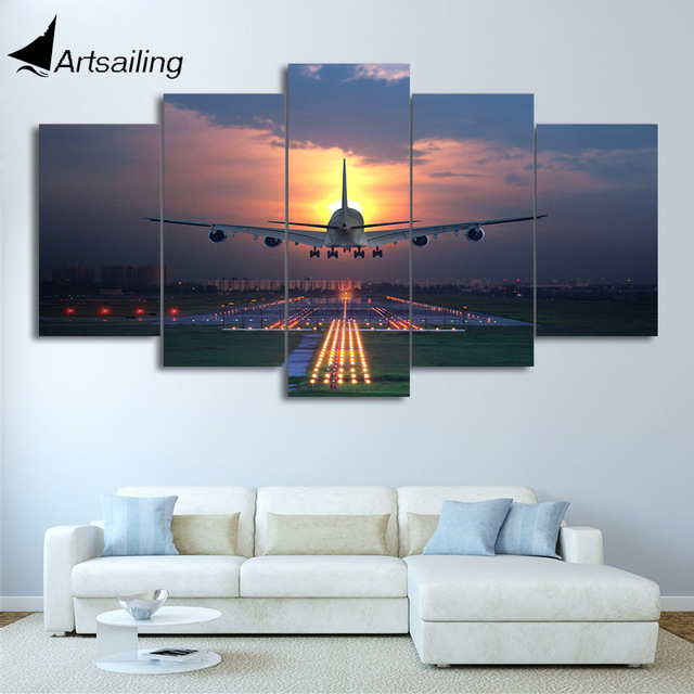 Hd Printed 5 Pieces Canvas Art Painting Sunset Airplane Lawn Airport Poster Wall Pictures Home Cu-2856c