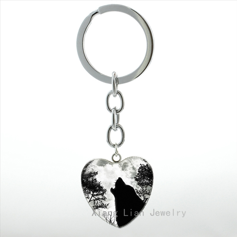 Jewelry & Accessories Skillful Knitting And Elegant Design Key Chains Reasonable Hot Sale Forest Wild Animal Wolf Keychain Vintage Black White Moon Night Howling Wolf Heart Pendant Key Chain Ring Men Hp559 To Be Renowned Both At Home And Abroad For Exquisite Workmanship