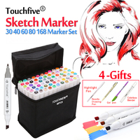 TOUCHFIVE 30 40 60 80 168 Colors Alcohol Markers Double Headed Sketch Markers For School Drawing