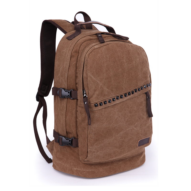 Rivets Canvas Men Backpack Pretty Style Solid School Bag For Man Large Capacity Travel Male Backpacks 15.6 inches Laptop Bags