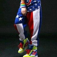 Çocuklar Yetişkin Harem Hip Hop Dans Pantolon Sweatpants Renk Patchwork Pantolon