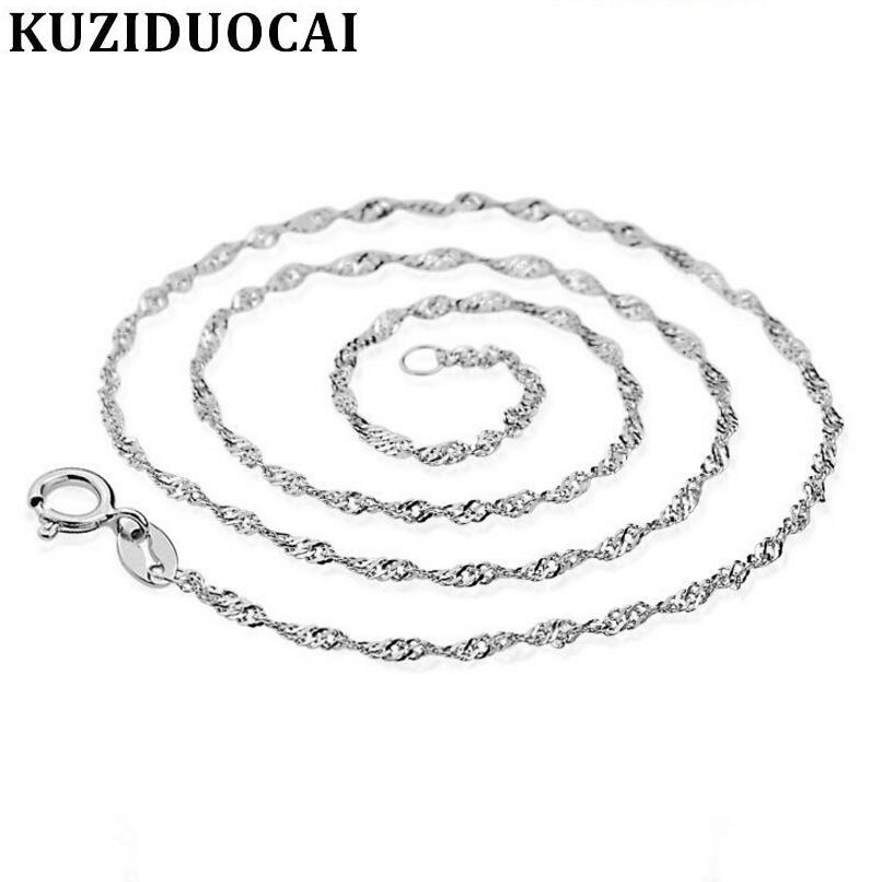 Kuziduocai New Fashion Fine Jewelry Water Wave Chain Female Copper Plated Silver Choker Necklaces Wholesale Drop Shipping S-N10