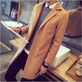 2016 new trench coat men winter men's fashion coat Turn-down collar designer long outwear overcoat manteau homme woolen overcoat