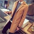2016 novos homens do revestimento de trincheira dos homens de inverno moda casaco Turn-down collar designer longo exteriores sobretudo manteau homme sobretudo de lã