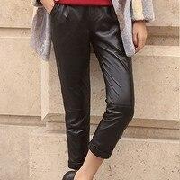 Из натуральной кожи уличная шаровары натуральная кожа овчины джоггеры Для женщин Высокая Талия пикантные черные брюки карандаш Harajuku брюки