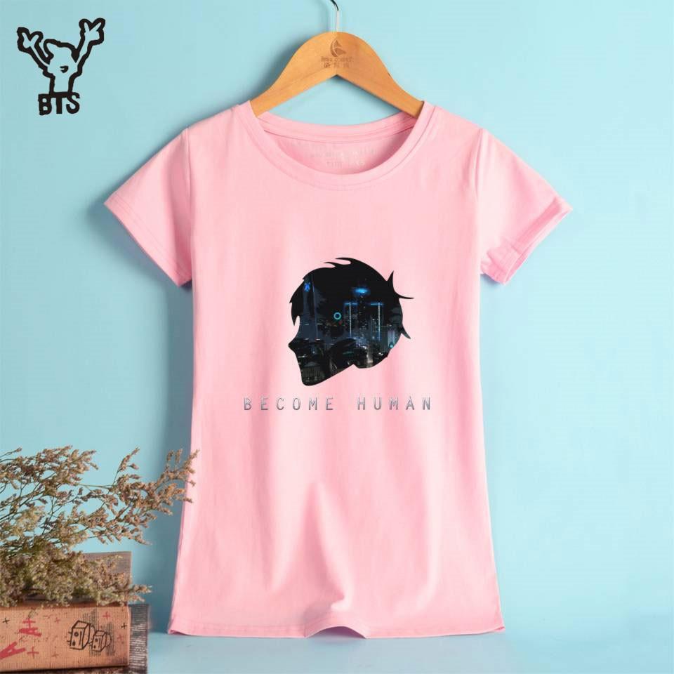 BTS Detroit: Become Human Funny tshirt Women Kawaii harajuku Fashion Summer t-shirt Casual Print Tops Plus Size 4XL A8206-A8209