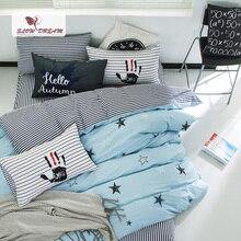 SlowDream Fashion Star Blue Bedding Set 100% Cotton Elegant Duvet Cover Set Bed Linen Active Printing Bedclothes Comforter Set