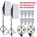 8 PCS Lâmpadas E27 Lâmpadas LED Kit de Iluminação Fotografia Equipamento Fotográfico + 2 PCS Caixa de Luz Softbox + Estande Luz para Photo Studio Difusor