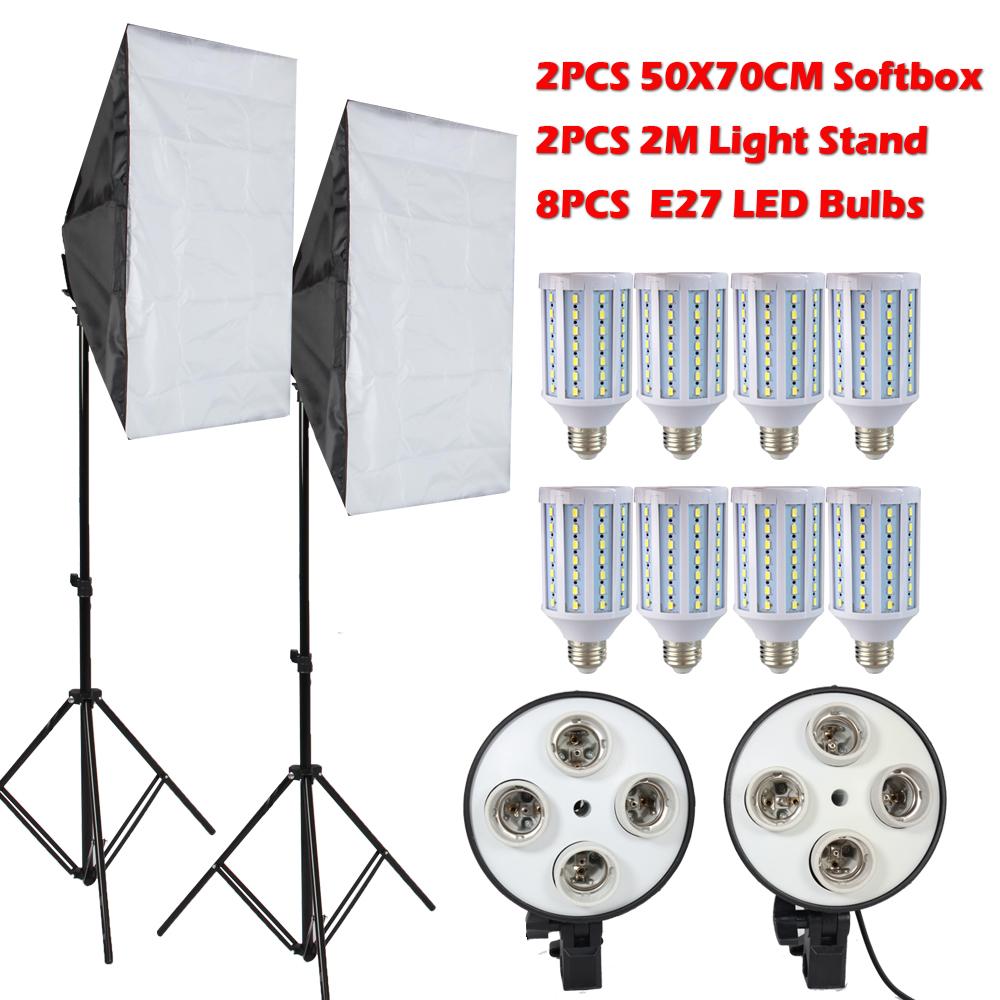 Prix pour 8 PCS Lampes E27 LED Ampoules Photographie Kit D'éclairage Photo Équipement + 2 PCS Softbox Boîte à Lumière + Lumière Stand pour Photo Studio Diffuseur