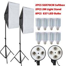 8 UNIDS Lámparas E27 Bombillas LED Kit de Iluminación de la Fotografía Equipo Fotográfico + 2 UNIDS Softbox Caja de Luz + Soporte de Luz Para Photo Studio Difusor