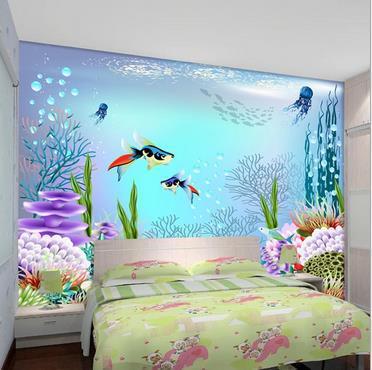 ᗔpersonnalise 3d Papier Peint Enfants Chambre Big Bleu Ocean 3 D