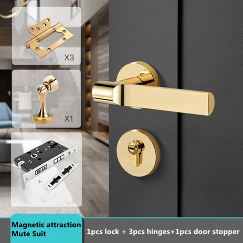Modern fashion luxury gold silent magnetic interior door lock black bedroom study solid wood door handle lock hinge door stopper