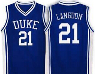 c0da582c8aa #21 Trajan Langdon Duke Blue Devils Jersey Blue,white Retro Throwback  Basketball Jersey,all name and numbers are stitched on