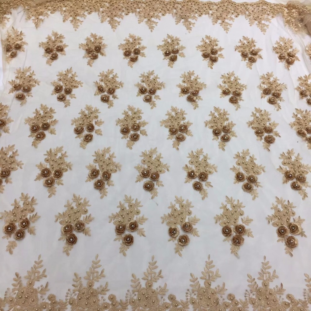 Embroidered African 3D Flower Lace Fabric Hot Sale French Lace Fabric With Pearls African Tulle Lace Fabric
