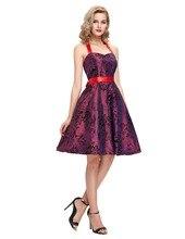 Ladies dress Halter Sash Printed Short Casual Vestidos Womens summer dresses 2016 summer Style Plus size 50s Robe Vintage dress