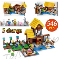 Technic LegoINGLYs Minecraft Village Toys For Children Classic 21144 The Farm Cottage DIY Bricks Mini Action figures Child toy