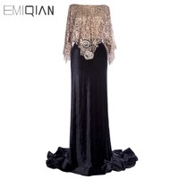 Open Back Black Velour Mermaid Evening Dresses with Champagne Lace Cape Evening Gown