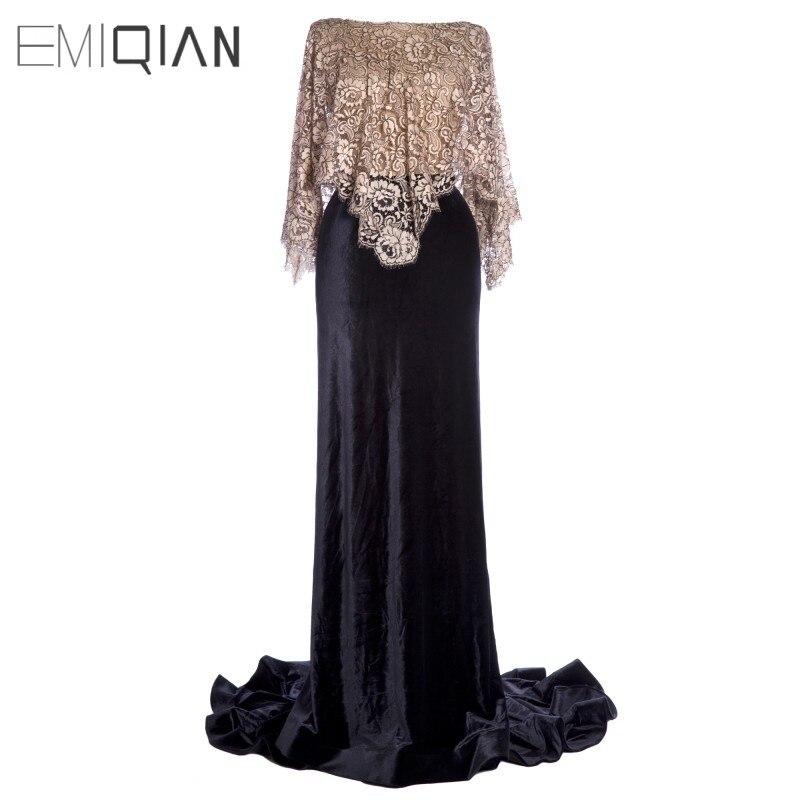 Robes de soirée sirène en velours noir à dos ouvert avec robe de soirée Cape en dentelle Champagne