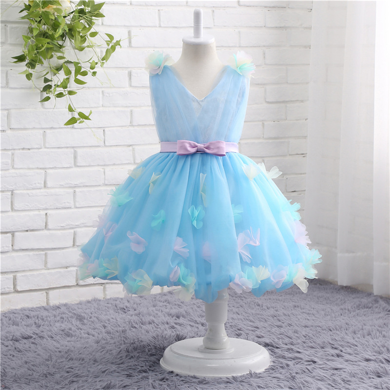 New Arrival In stock V Neck Sky Blue   flower     girl     dresses   2019 A-Line Vestido daminha sexy children images   flower     girl     dress
