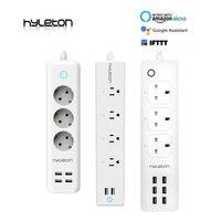 Hyleton wifi USB power Strip smart US plug Переключатель перегрузки стабилизатор напряжения 4 розетки 2 порта USB зарядное устройство м 2 м 15A Wi-Fi разъем