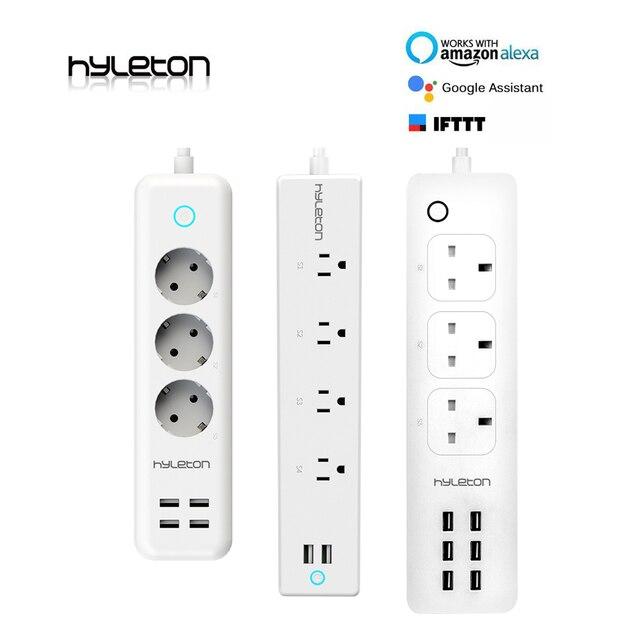 Hyleton wifi listwa zasilająca z USB smart US wtyczka przełącznik przeciążeniowy zabezpieczenie przeciwprzepięciowe 4 wylot 2 Port USB ładowarka 2 m 15A wifi gniazdo