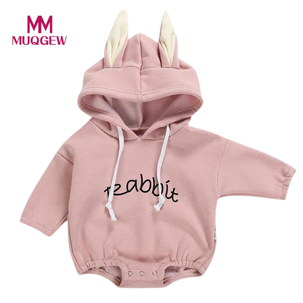MUQGEW 2019 Cute Cartoon Todder Kid Baby Girl Boy Rabbit Letter Hooded Sweatshirt Tops Pullover Romper Soft Cotton roupa de bebe Подушка