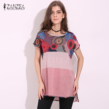 ZANZEA Fashion 2017 Womens Cotton+Linen Shirts Short Sleeve O Neck Casual Loose Blouse Printed Femininos Plus Size S-5XL