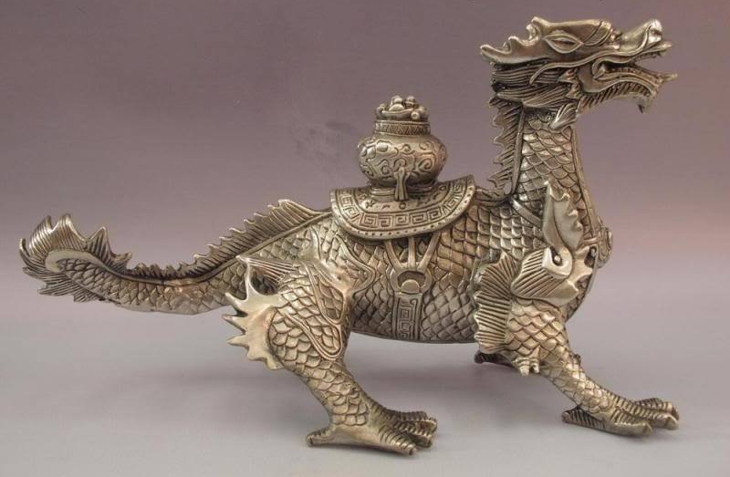 Chinese White Copper Silver Feng shui Lucky Beast Treasure bowl Dragon StatueChinese White Copper Silver Feng shui Lucky Beast Treasure bowl Dragon Statue