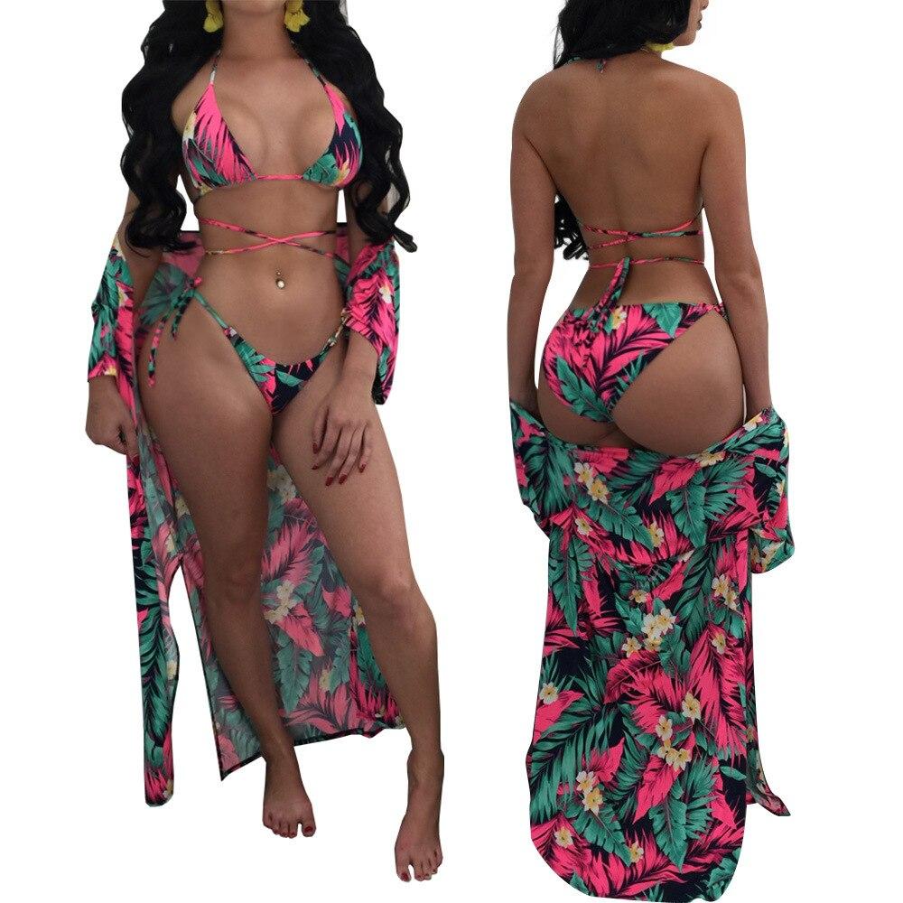Zaful Swimwar Bathing Suit Women Summer Beachwear Floral Bikini 2018 Womens Swimming Suit maillot de bain bikini + cover up 2pc