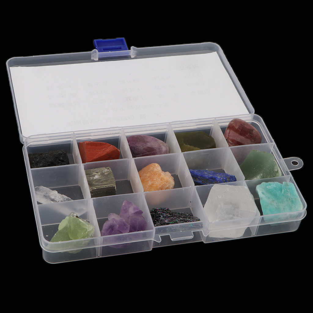 15pcs/ Box Educational Geology Science Kit Rock and Mineral Collection  Gemstones Quartz / Jade Tektite Specimens in Display Case