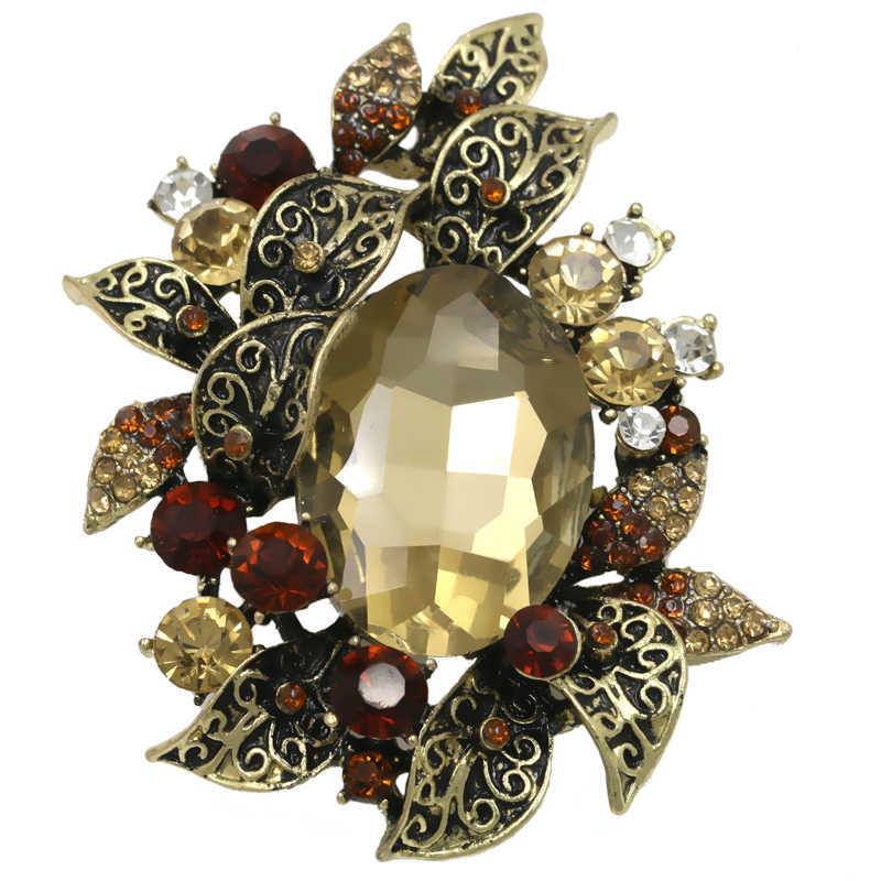 Vintage Style Crystal Rhinestones and Large Acrylic Stone Plant Brooch Pins for Women
