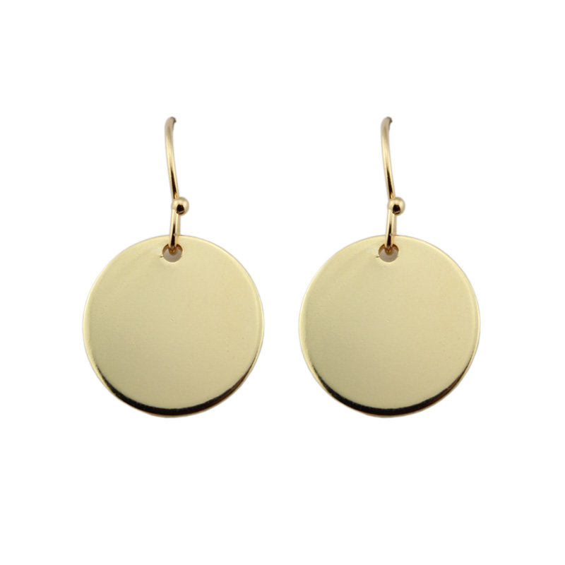 Minimalistiska Geometriska Monogram Circle Disc Drop Earrings Gold & Hook örhängen för kvinnor