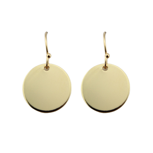 Minimalist Geometric Monogram Circle Disc Drop Earrings Gold Silver Kendra Hook For Women
