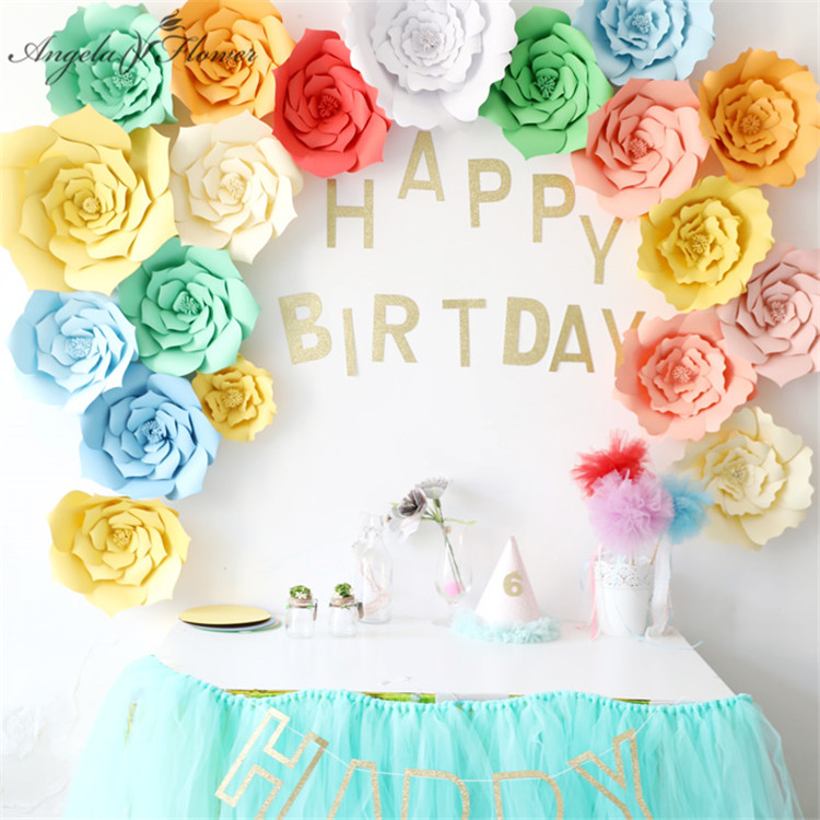 Us 3 74 21 Off Diy Craft Birthday Party Wedding Paper Flower Wall Window Decoration Event Supplies Stage Background Layout Paper Roses 30cm In