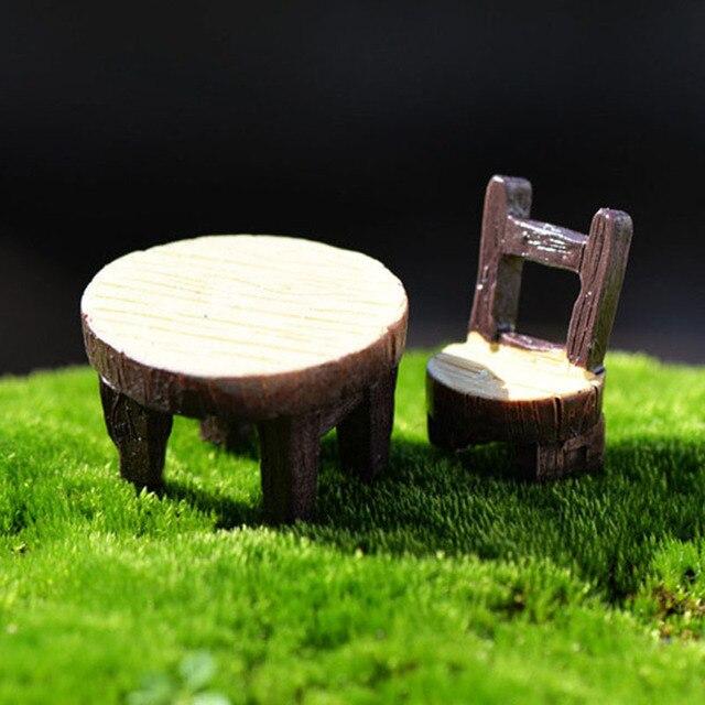 Runden Tisch Stuhl Set Miniatur Fee Garten Häuser Dekoration Mini Handwerk  Micro Landschaftsbau Decor DIY Zubehör