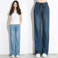 2018 Spring And Summer High Waist Jeans Thin Loose Wide Leg Plus Size Jeans Women's Denim Pants pantalones jeans de mujer Q19