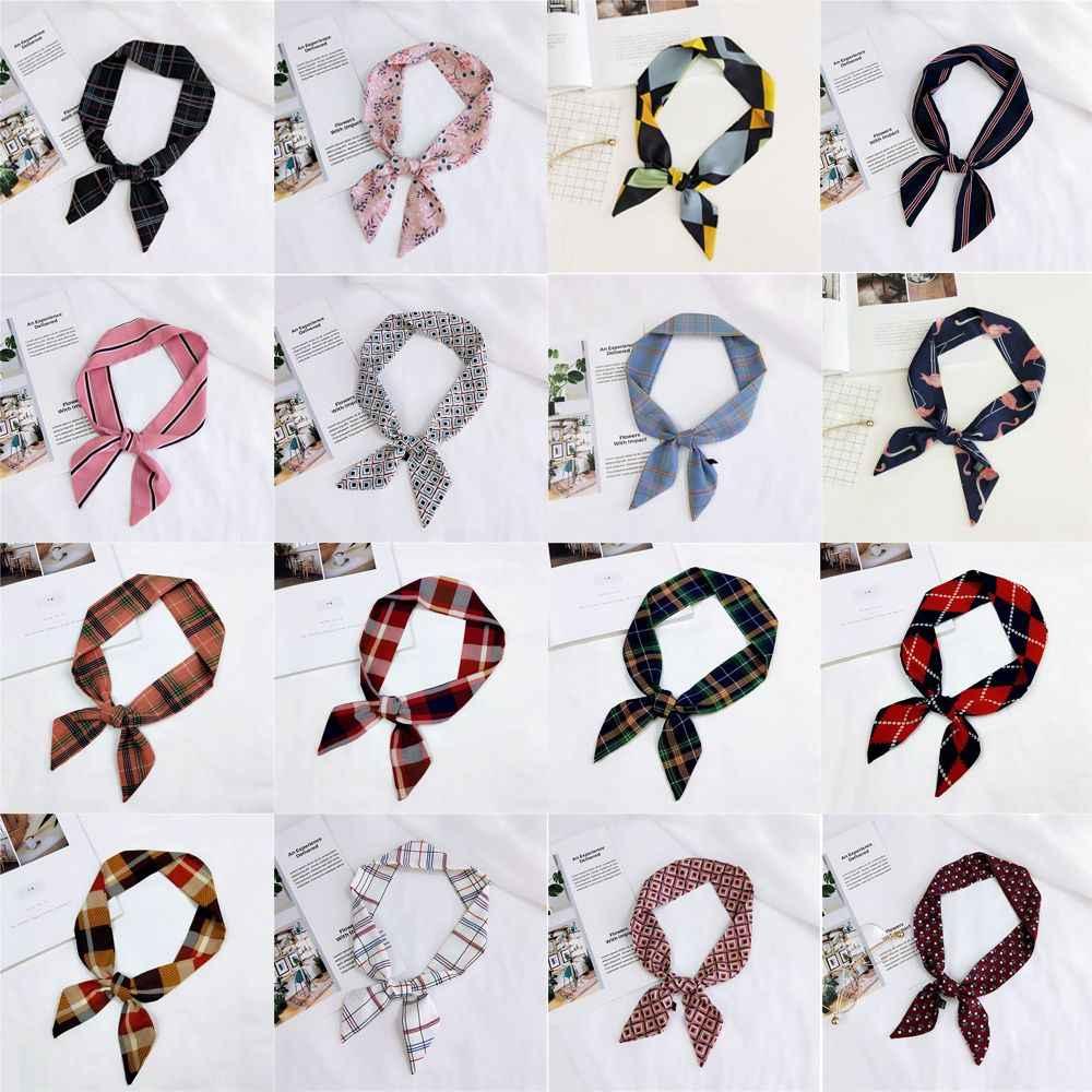 ファッション夏のエレガントな女性ソフトヴィンテージ花シルクスクエアスカーフ小さなハンドルバッグリボン女性のヘッドバンド髪のネクタイバンドショール